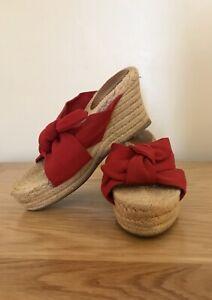 Castaner Wedges Espadrilles Sandals Mules Red Bow Shoes UK 3 | EU 36 | CASTAÑER