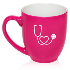 16oz Bistro Mug Ceramic Coffee Tea Glass Cup Heart Stethoscope Nurse Doctor