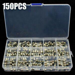 150Stk Sortiment Schnell Feinsicherungen Glassicherungen Box 0.1A-30A 5x20mm