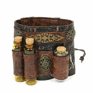 Adult Steampunk Faux Brown Wristband Bracelet Vials Cuff Cosplay RPG Accessory