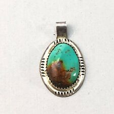 Old Pawn Navajo sterling silver turquoise pendant signed GD