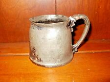 ANTIQUE PEWTER/SILVERPLATE BABY CUP, HOMAN MFG CO, 1904-1916