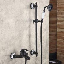 Noir Tapis de baignoire Robinet Set mural douche à main Barre Coulissante Mélangeur Robinet Kit