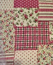 Shabby Chic Queen / King Bedspread Set Throw Coverlet Deep Pink Green Off White