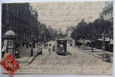 Carte postale de Bordeaux, le cours Victor Hugo et le Lycée 1912