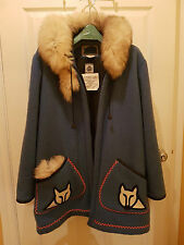 Vintage James Bay Inuit Native Parka Coat with Fox Fur Trim - Size 18