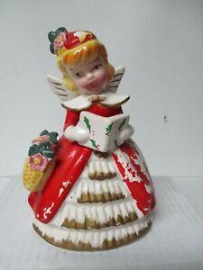 Vintage KREISS Ceramic Christmas Lady Angel w Songbook & Flower Basket