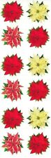 ~ Poinsettias Flower Red Yellow Mix Christmas Paper House StickyPix Stickers ~