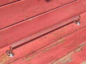"Antique Vintage Farmhouse Bent Glass Towel Bar Rod with Brackets ~ 24"" Long"