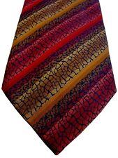 John Lewis Herren Krawatte Rot & Gold Mosaik Streifen NEU