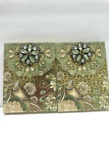 2 Punch Studio Decorative Brooch Note Pads 46505 Birds Green Gem, Discontinued!