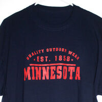 Quality Outdoor Wear Minnesota Mens 2XL T-Shirt Dark Blue Short Sleeves