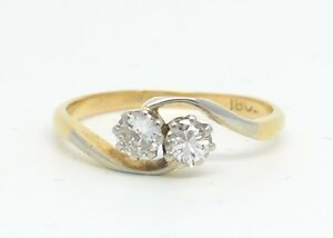 Dazzling Art Deco 18ct Gold 0.34ct Diamond 2 Stone Twist Ring