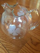 Irish 4 leaf clover clear glass round ball etched water pitcher St Patricks Day
