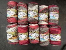Alize knitting / crochet Aran yarn in Pinks, Grey & White. 10 x 100g.