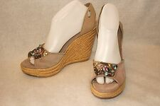 STEVE MADDEN ~ Taupe Suede Embellished Wedge Espadrilles Sz 8.5 * VERY GOOD++