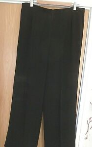 PAIR of LADIES JACQUES VERT BLACK WIDE LEG PALAZZO TROUSERS ~size 20 SIDE STRIPE