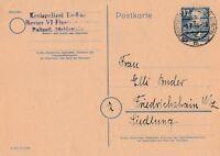 Postkarte verschickt von Finsterwalde nach Friedrichshain aus dem Jahr 1949