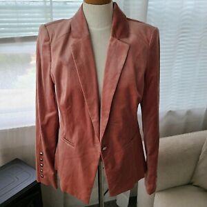 NWT $150 White House Black Market size 12 pink velvet blazer