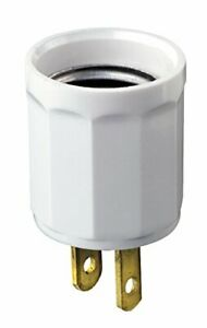 Leviton 61-W 660W 125V Polarized Outlet-to-Lampholder Adapter White
