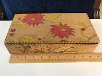 VTG Wooden Box Hinged Wizard LF Grammes & Sons Handmade Pyrography Poinsettias