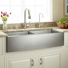 """Modern Farmhouse Sink 33"""" Brushed Stainless Steel Double Bowl Apron Front 50/50"""