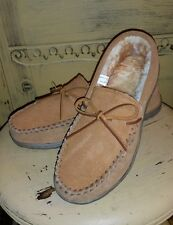 NWT RED HEAD CABIN MOC MOCCASINS WOOL FUR LINED MENS 8 M SUEDE RUBBER SOLES