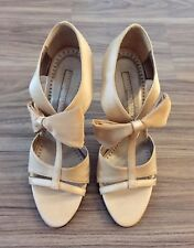 In Great Condition! Stella Mccartney Bow Satin Sandals Gold Beige Size38