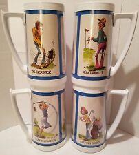 Vtg 1976 Set of 4 Thermo Serv Plastic Insulated Golf Tumblers Glasses Mugs Retro