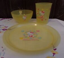 Hello Kitty Plastic Plate, Bowl and Glass YELLOW Flowers & Heart made in Japan