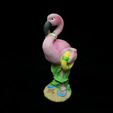 Pink Flamingo With Life Preserver Tropical Beach Bird Figurine Statue Flip Flops