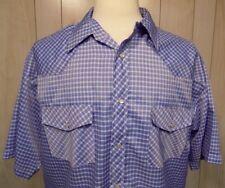 BJR Ranch Wear Men's Shirt Size XL Blue Plaid Cowboy Rockabilly Rodeo Western