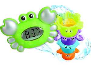 Safety Baby Gift Bath & Room Digital Floating Thermometer Crab Design 4pcs Toys