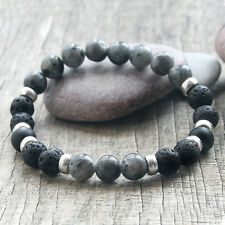Mens Lava Rock Labradorite Stone Diffuser Essential oil Beaded Bracelet Jewelry