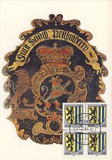 AK: Posthausschild Hessen-Kassel, 1763 mit Briefmarken + Tagesstempel