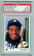 Baseball Card Ken Griffey, Jr. Signed Star Rookie 1989 Upper Deck#1 PSA/DNA CERT