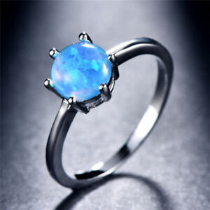 Women Fashion Silver Round P Blue Simulated Opal Wedding Ring Jewelry Size 9