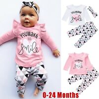 Infant Baby Girls Letter Print Tops+Geometric Pants+Headband Outfits Clothes Set