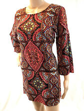 BILLA BONG M Medium Dress Shift Brown Red Bell Sleeve