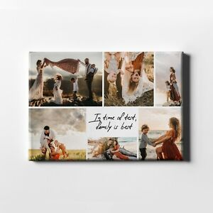 Personalised Canvas Family Photo Collage Custom Text Quote Print Image Pictures