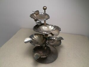 """Vintage Mexican Sterling Silver Mid-Century """"Shell"""" Design 8-Piece Ashtray Set"""