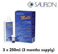 3 meses Sauflon Multi 3 X 250ml solución de lentes de contacto un paso peróxido de sistema