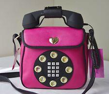 Betsey Johnson Fuchsia Hot Pink Black Telephone Phone Crossbody Bag
