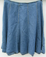 St Johns Bay A Line flare Skirt Size 12 Modest Blue Jean Denim dark wash cotton