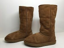 #O WOMENS UGG AUSTRALIA WINTER SUEDE LEATHER BROWN BOOTS SIZE 6