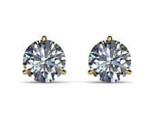 CERTIFIED 4.0 CT D SI1 ROUND DIAMOND EARRINGS MARTINI PUSHBACK 18 K YELLOW GOLD