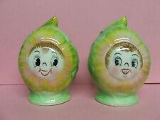 Vintage PY Anthropomorphic Cabbage Rose Salt & Pepper Shakers (Japan)