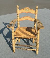 VINTAGE CHIC SHABBY ARM CHAIR DISTRESSED CRACKLE FARM HOUSE FRENCH RYE RUSH SEAT