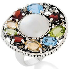 Marcasite 12mm Cultured Mabe Pearl Gemstone Sterling Silver Ring Size 9