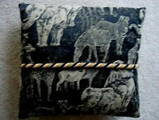 Collectible Black &Tan Animal Print Tapestry Fabric Sofa/Bed Pillow - Braid Trim